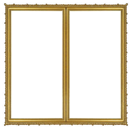 Double golden frame (diptych) for paintings, mirrors or photos isolated on white background.