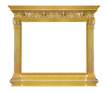 Golden frame for paintings, mirrors or photo isolated on white background Reklamní fotografie