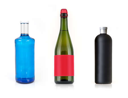 Layout bottle of drink on a white background with a blank label