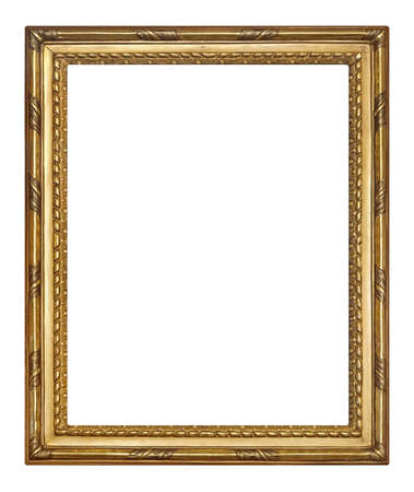 Golden frame for paintings, mirrors or photo isolated on white background Zdjęcie Seryjne