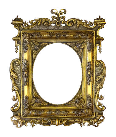 Golden frame for paintings, mirrors or photo isolated on white background.