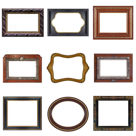 Set of wooden frames for paintings, mirrors or photo isolated on white background
