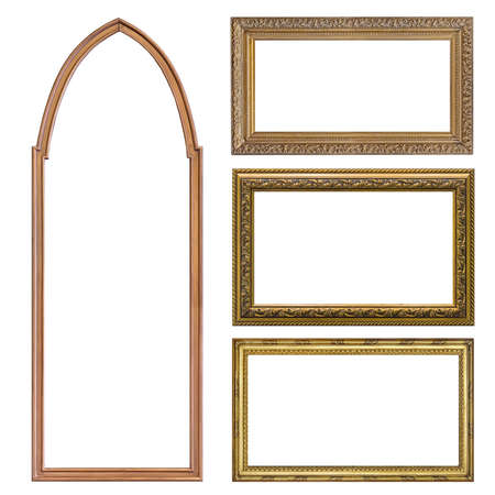 Set of golden frames for paintings, mirrors or photo isolated on white background