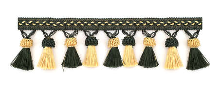 Line of silk tassels isolated on white background for creating graphic concepts