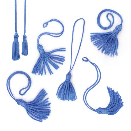 Set of blue tassels isolated on white background Banque d'images