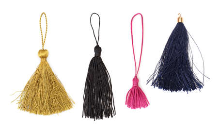 Set of silk tassels isolated on white background for creating graphic concepts Stock Photo