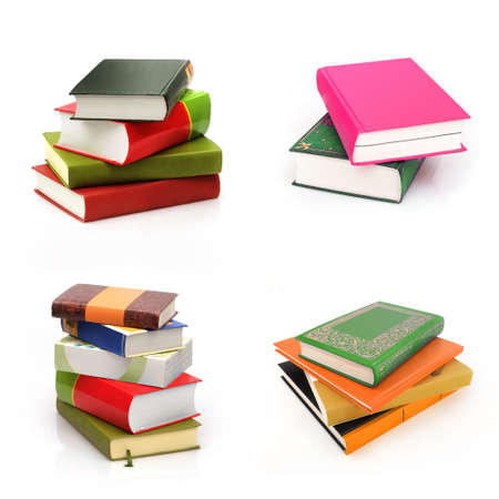 Set of stack of books in color covers with white sheets isolated on a white background