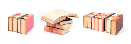 Stack of books in color covers with white sheets isolated on a white background