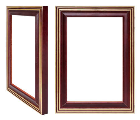 Wooden frame for paintings, mirrors or photo in frontal and perspective view isolated on white background