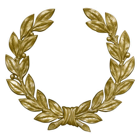 Golden decorative wreaths isolated on white background. Design element with clipping path