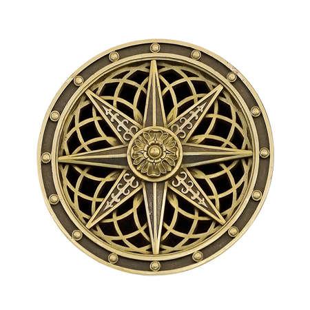 Golden decorative element (wind rose) isolated on white background