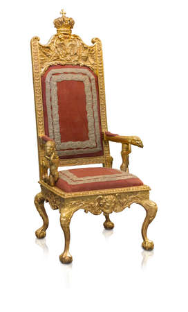 Ancient golden armchair decorated with winged lions isolated on white background. Design element with clipping path