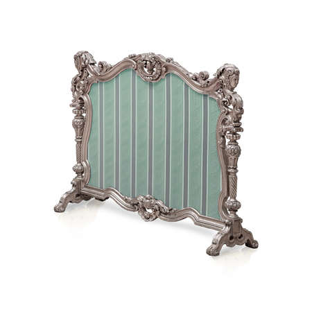 Silver fire screen isolated on white background. Design element with clipping path