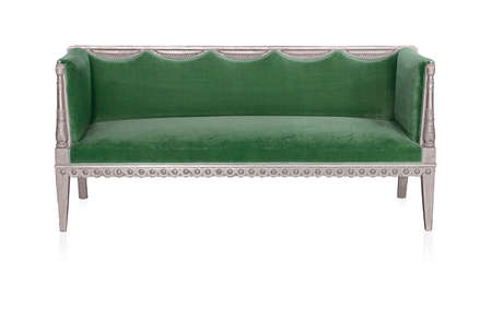 Ancient silver sofa isolated on white background. Design element with clipping path Stockfoto