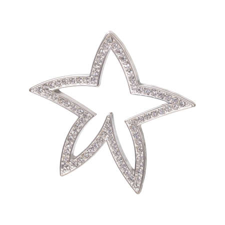 Silver starfish pendant with sparkling crystals.