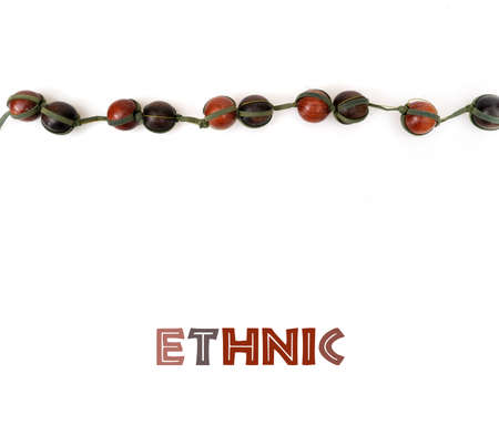 Mockup of poster: Ethnic wooden beads isolated on white background