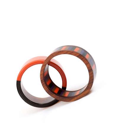 Fashionable round bracelets isolated on a white background