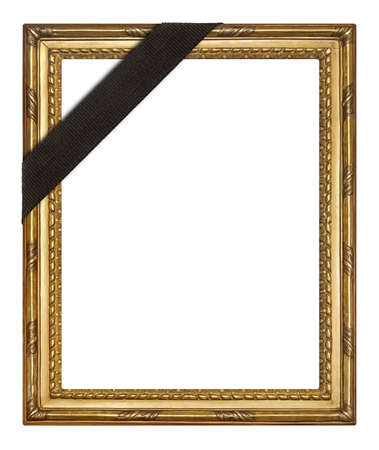 Golden frame with black mourning ribbon for paintings, mirrors or photo isolated on white background. Design element with clipping path
