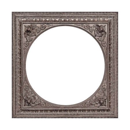 Silver frame for paintings, mirrors or photo isolated on white background. Design element with clipping path