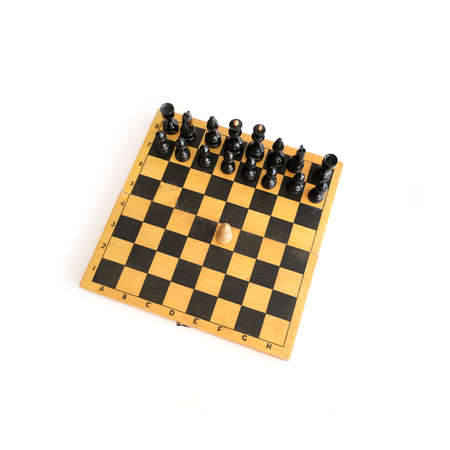 Chess on a wooden board isolated on a white background