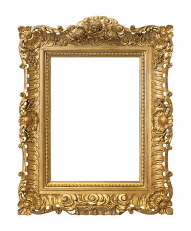 Golden frame for paintings, mirrors or photo isolated on white background Imagens