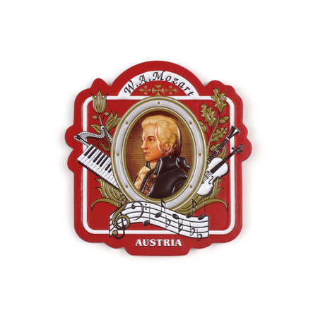 Souvenir from Austria (Vienna) with the image of the famous national musician. The great Austrian composer Mozart isolated on white background. Design element with clipping path