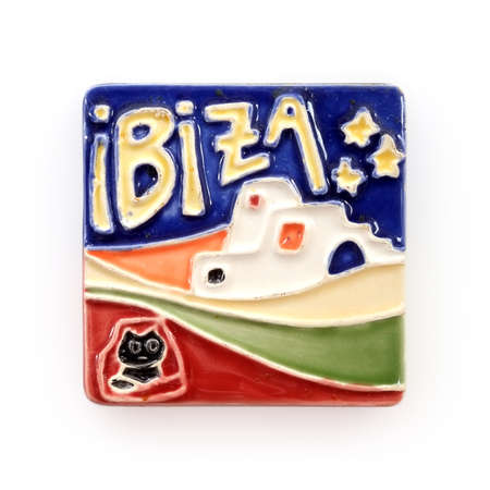 Magnetic souvenir from the island of Ibiza (Spain) isolated on white background.