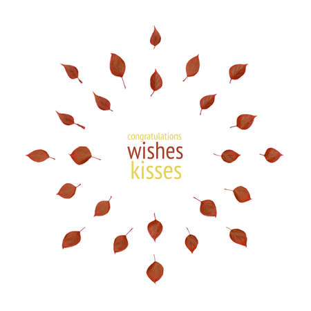 A greeting card template with a pattern of red leaves and a place inside the circle for an inscription Imagens