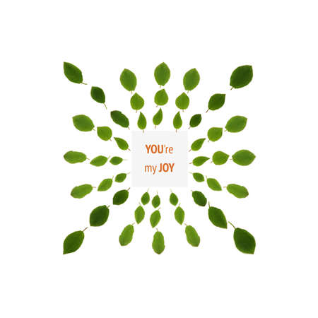 A greeting card template with a pattern of green leaves and a place inside for an inscription