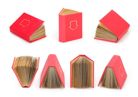 Set of books in red cover with white sheets isolated on a white background