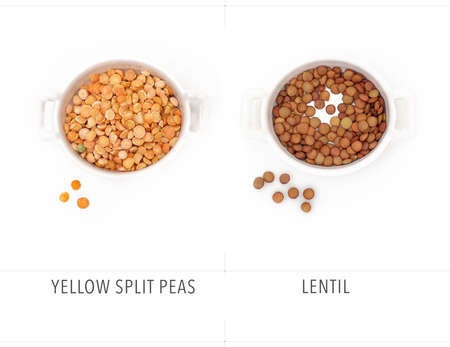 Dry yellow peas and lentils isolated on white background Zdjęcie Seryjne