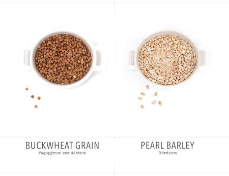 Buckwheat and pearl barley isolated on white background