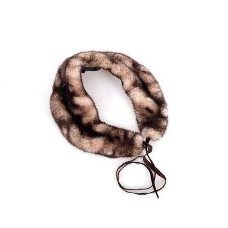 Decorative detachable faux fur collar for women clothes isolated on white background