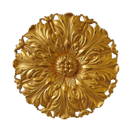 Golden decorative element with floral pattern isolated on white background.