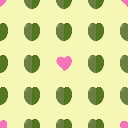 Seamless vector pattern: handmade staggered hearts and leaves