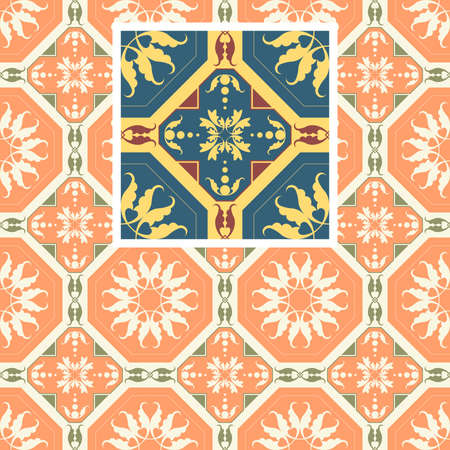Seamless floral Renaissance style vector square pattern