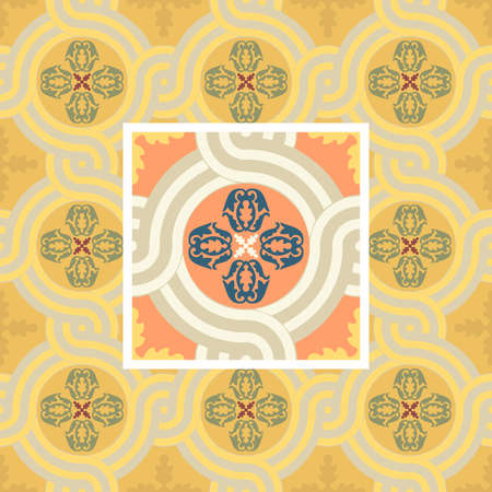 Seamless floral Renaissance style vector square pattern Vettoriali
