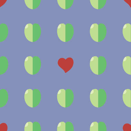 Seamless vector pattern: handmade staggered hearts and leaves Vector Illustration