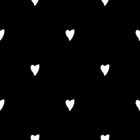 Seamless pattern: handmade staggered white hearts on black background