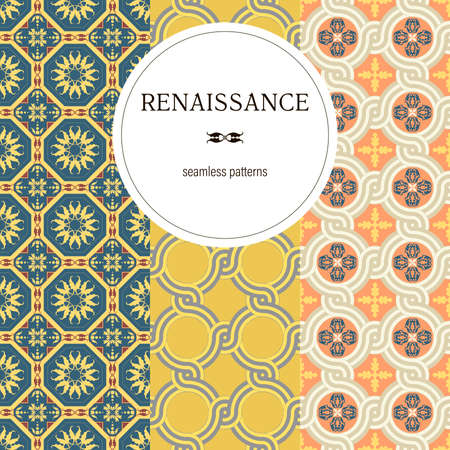Set of Seamless floral Renaissance style vector square patterns