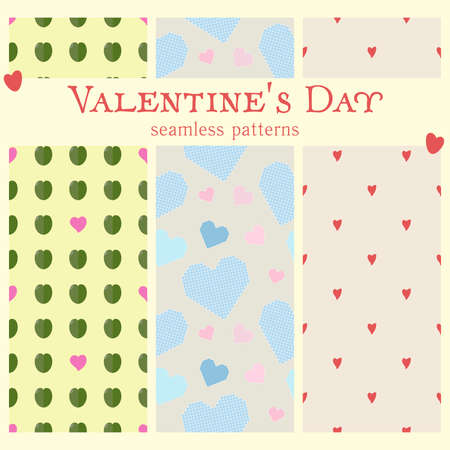 Set of Seamless vector patterns: handmade staggered isolated hearts