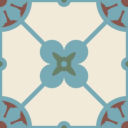 Vector classic Portuguese geometric seamless square pattern Vettoriali