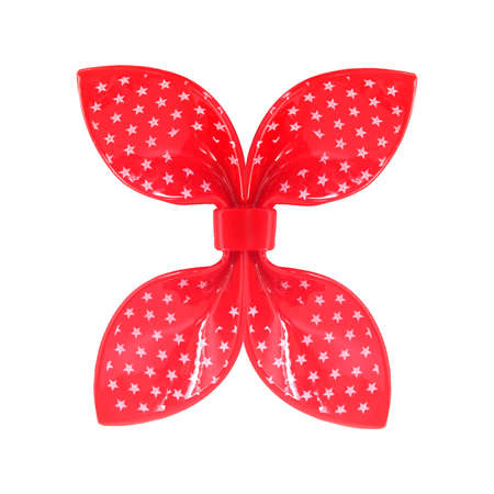 Red plastic bow isolated on a white background. Design element with clipping path 免版税图像