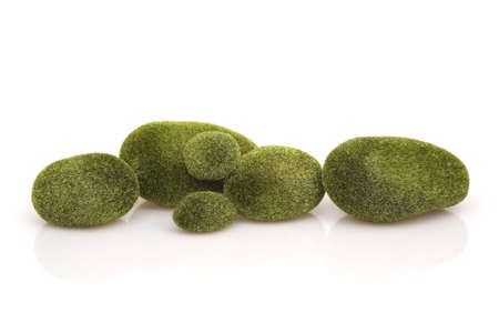 Mossy stones isolated on white background for design in ecological style