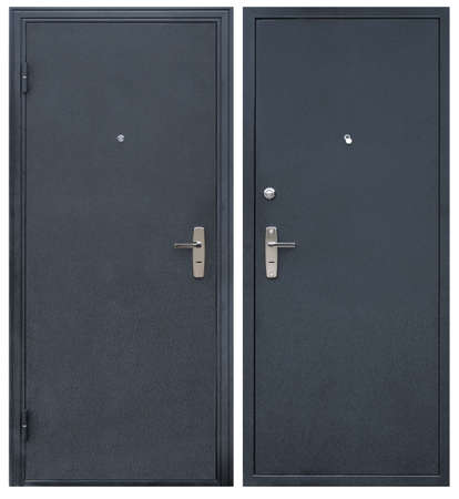 Model of entrance metal door isolated on white background: outside and inside 免版税图像