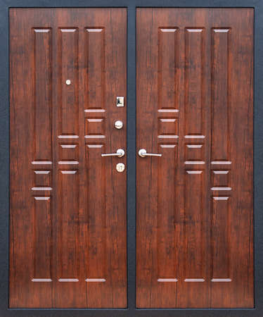 Model of double entrance metal doors isolated on white background