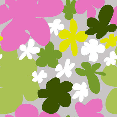 Square seamless floral pattern in the style of