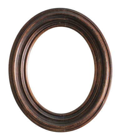 Wooden oval frame for paintings, mirrors or photo isolated on white background