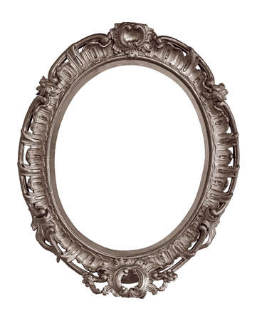 Silver oval frame for paintings, mirrors or photo isolated on white background.