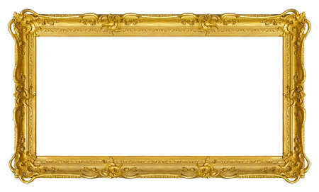 Panoramic golden frame for paintings, mirrors or photo isolated on white background. Banque d'images